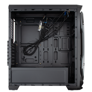 GABINETE + 03 COOLER AZUL EVOLUT EG-801 HALO BLACK